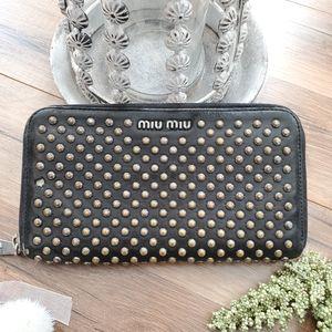 Miu Miu Studded Zippy Wallet